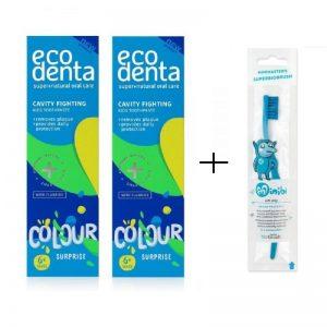 Ecodenta Green Line - Πακέτο Οδοντόκρεμες παιδικές + οδοντόβουρτσα biobrush Berlin