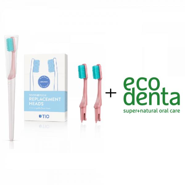 TIO Care - Πακέτο Οδοντόβουρτσα + Ανταλλακτικά Γκρι Soft (Pebble Soft) + ecodenta Cosmos Organic