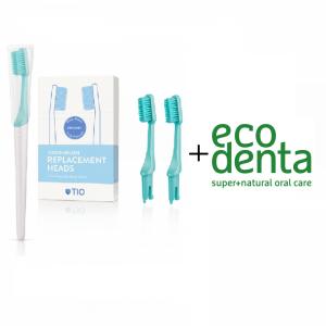 TIO Care - Πακέτο Οδοντόβουρτσα + Ανταλλακτικά Πράσινη Medium (Lagoon Medium) + ecodenta Cosmos Organic